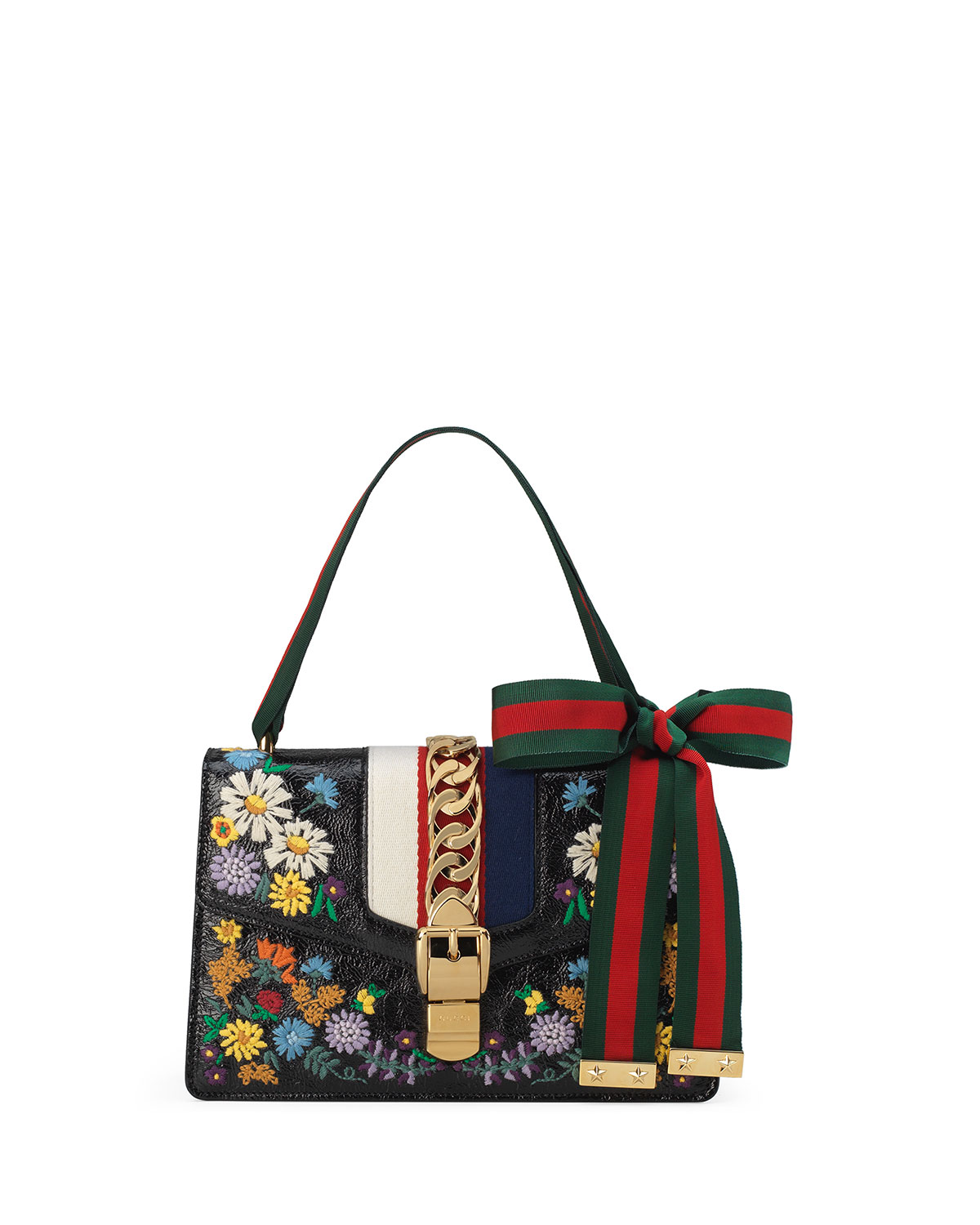 d94210010 Gucci Sylvie Small Floral Leather Shoulder Bag | Neiman Marcus