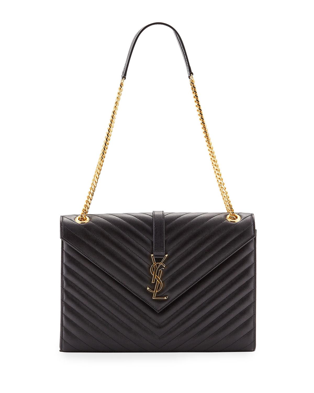 065275d76adb Saint Laurent V-Flap Large Monogram YSL Envelope Chain Shoulder Bag ...