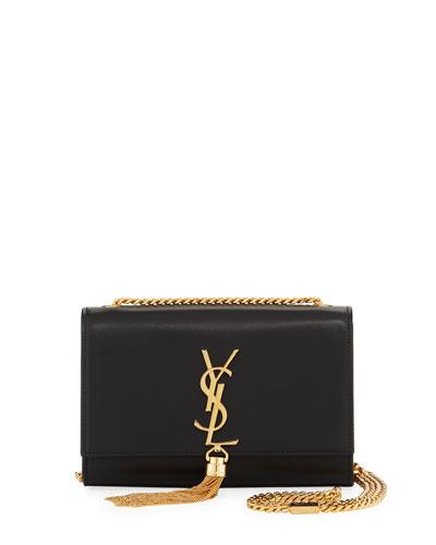 Kate Monogram Smooth Leather Tassel Small Shoulder Bag with Golden Hardware
