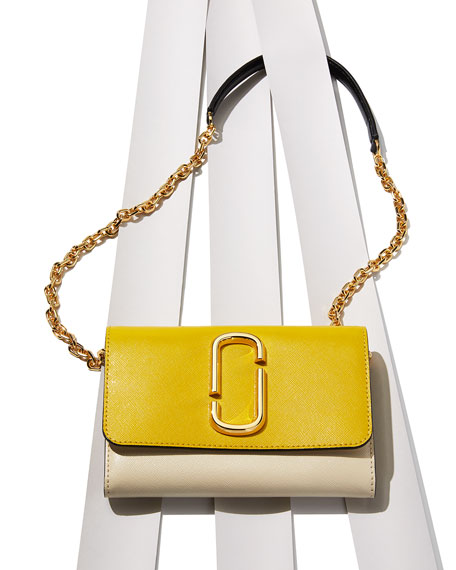 Two-Tone Saffiano Leather Wallet On A Chain