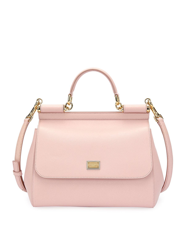 1bd9da7d304 Dolce & Gabbana Sicily Medium Calf Leather Satchel Bag   Neiman Marcus