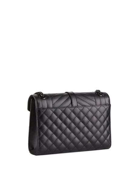 Image 3 of 4: V Flap Monogram YSL Medium Tri-Quilt Envelope Shoulder Bag w/ Tonal Hardware