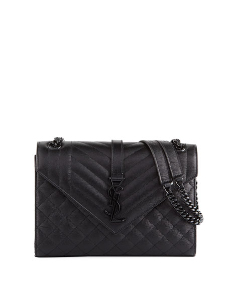 Image 1 of 4: V Flap Monogram YSL Medium Tri-Quilt Envelope Shoulder Bag w/ Tonal Hardware