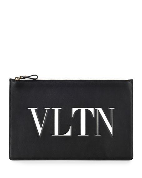 Valentino Garavani VLTN Large Flat Pouch Clutch Bag