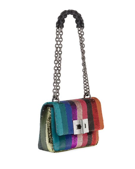 Natalia Large Soft Rainbow Sequin Shoulder Bag