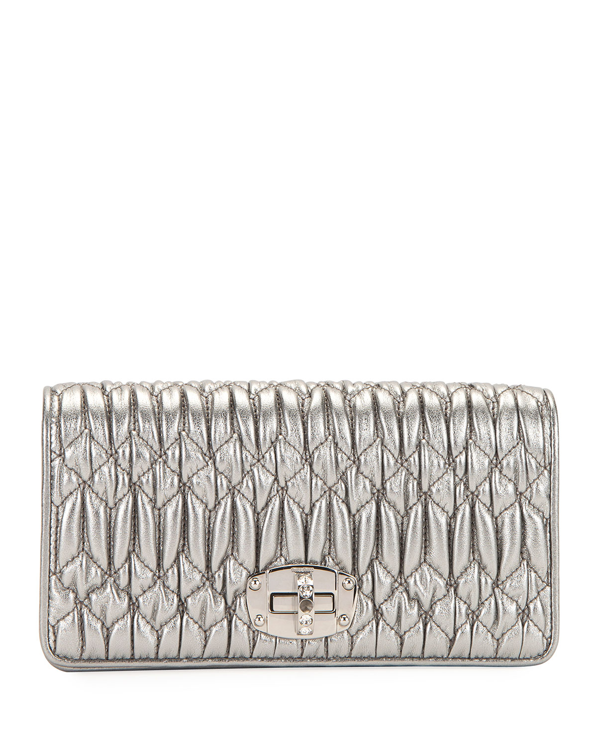 675a13580e7c Miu Miu Napa Leather Wallet on a Crossbody Chain with Crystal Clasp ...