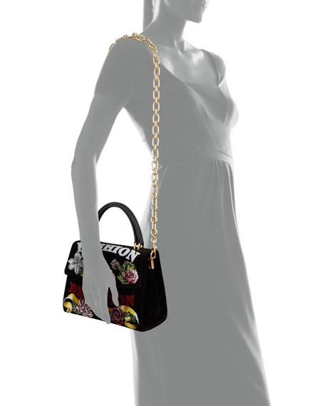 "Welcome ""Fashion Devotion"" Velvet Shoulder Bag"