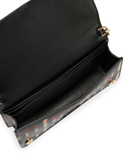 Prada Lipstick-Print Saffiano Crossbody Wallet/Tech Case Bag