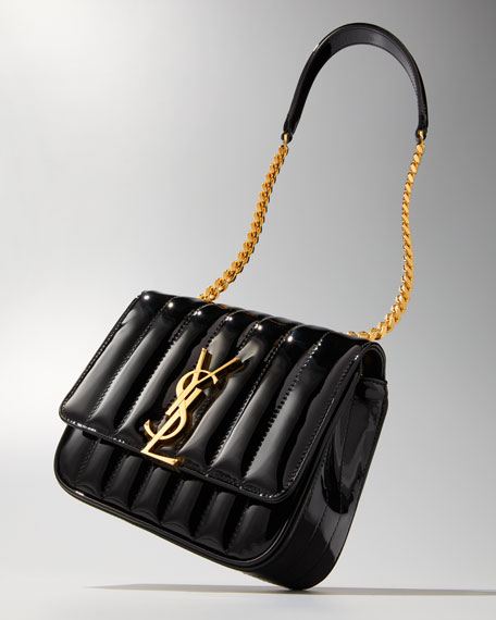 Image 2 of 5: Saint Laurent Vicky Monogram YSL Small Quilted Patent Leather Crossbody Bag