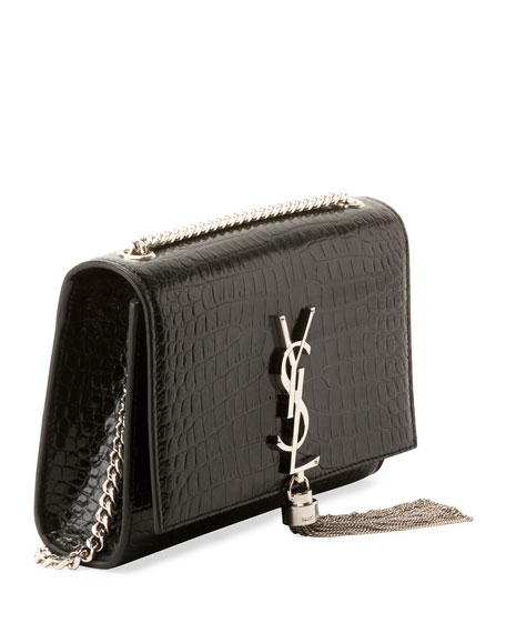 Saint Laurent Kate Monogram YSL Small Tassel Croco Shoulder Bag