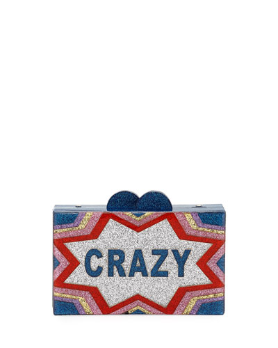 Girls' Crazy/Cool Glittered Acrylic Box Clutch Bag