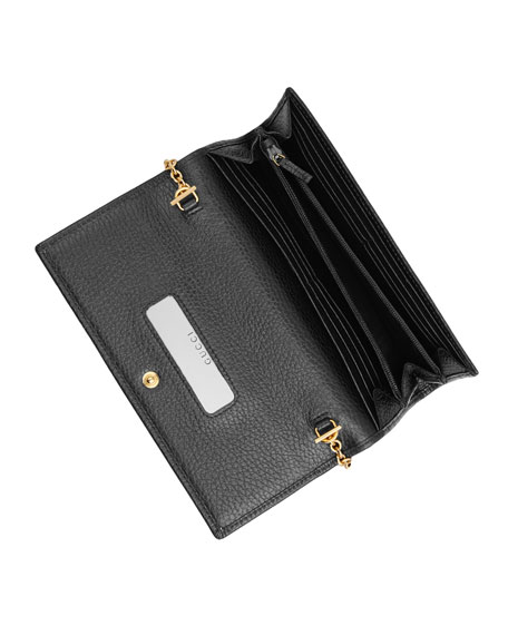 Gucci GG Marmont Leather Flap Wallet on a Chain