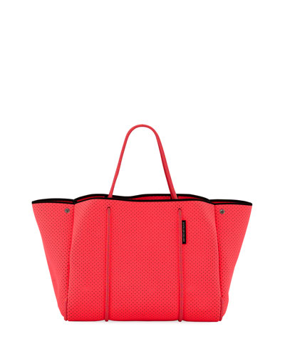 Escape Perforated Neoprene Tote Bag  Bright Pink