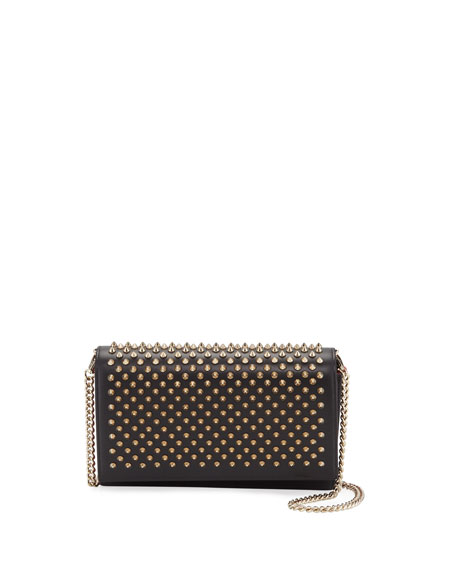 Christian Louboutin Paloma Fold-Over Spike Clutch Bag, Black