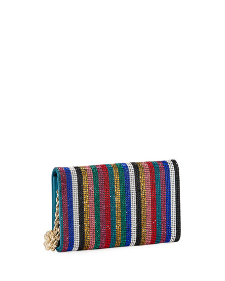 Image 4 of 5: Judith Leiber Couture Fizzoni Candy Stripe Crystal Clutch Bag