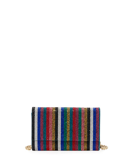 Image 1 of 5: Judith Leiber Couture Fizzoni Candy Stripe Crystal Clutch Bag