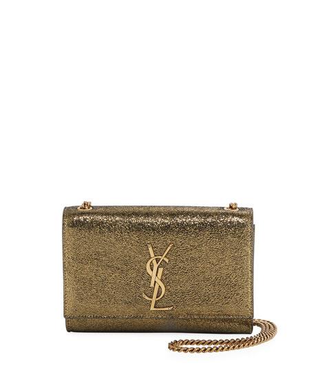 Saint Laurent Kate Monogram YSL Small Metallic Leather Crossbody Bag