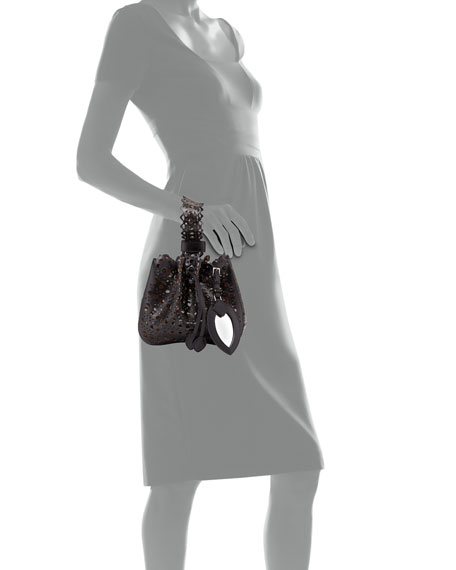 ALAIA Rose Marie Small Laser-Cut Leather Bucket Bag