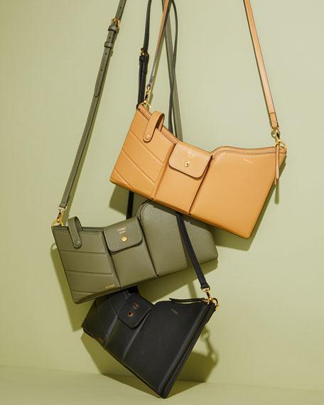 Fendi Bustine Three-Pocket Century Calf Crossbody Bag