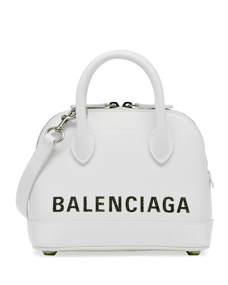 Balenciaga Ville Logo Leather Top Handle Bag