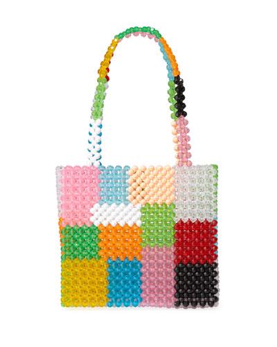 Ash Colorblock Beaded Top-Handle Bag