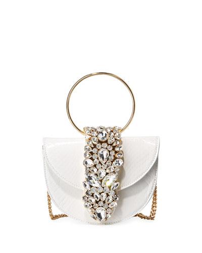 Brigitte Mini Jeweled Snakeskin Top-Handle Bag