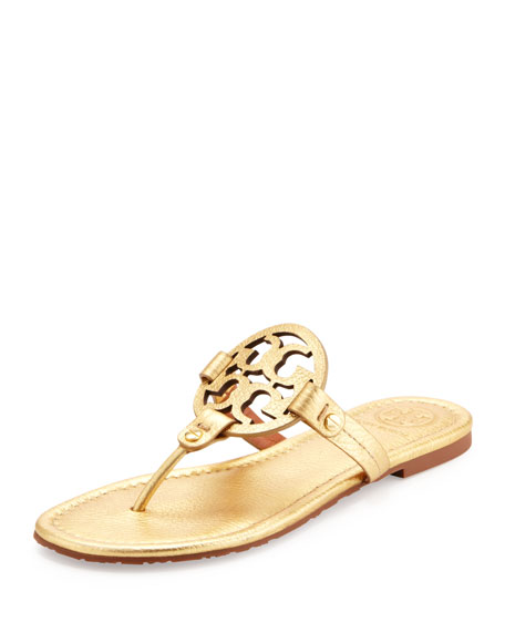 Tory Burch Miller Metallic Logo Thong Sandals, Gold