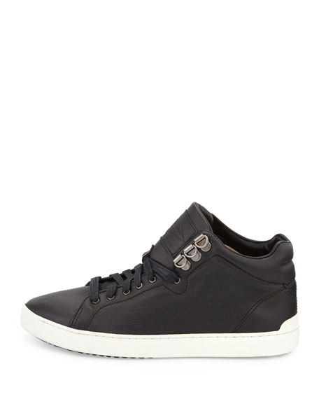 Kent Leather Mid-Top Sneaker, Black