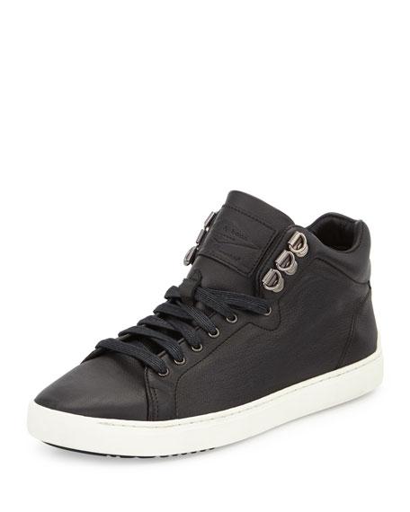 Rag & Bone Kent Leather Mid-Top Sneaker, Black