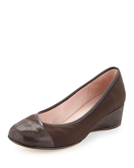 Taryn Rose Merwyn Stretch Cap-Toe Wedge, Chocolate