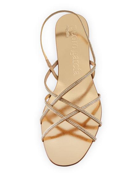Elora Crystal Slingback Flat Sandal, Gold