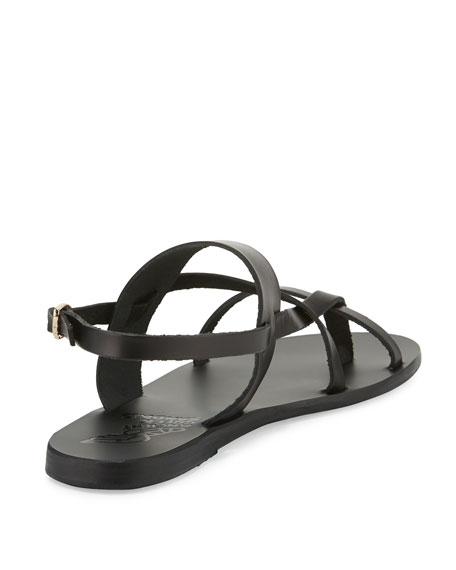 Alethea Leather Flat Sandal, Black
