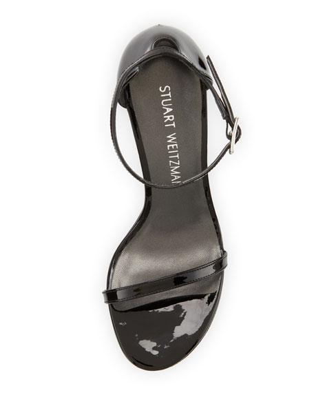 Stuart Weitzman Nudistsong Patent Ankle-Wrap Sandal, Black