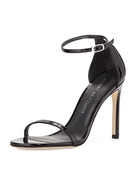 Nudistsong Patent Ankle-Wrap Sandal, Black