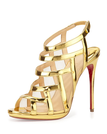 Christian LouboutinNicole Mesh-Inset Caged Red Sole Sandal, Gold