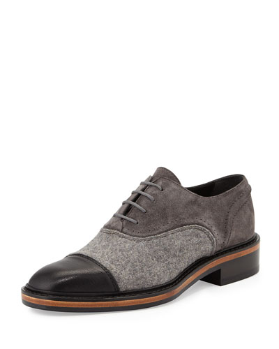 Felt & Suede Lace-Up Oxford, Gray