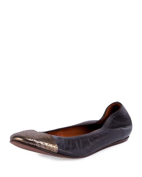 Lanvin Metallic Cap-Toe Ballet Flat, Anthracite/Black