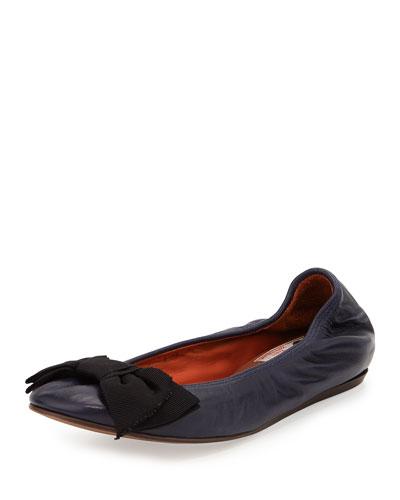 Grosgrain Bow Ballet Flat, Dark Navy