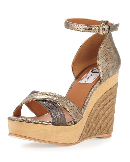 Lanvin Metallic Espadrille Wedge Sandal, Gold