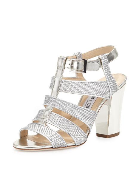 Jimmy Choo Marquee Metallic Woven Sandal, Silver