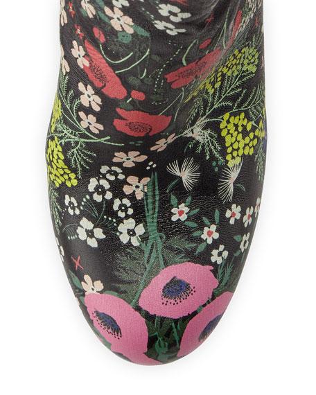 Garden-Print Jacquard Boot, Black (Nero)