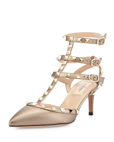 Valentino Garavani Rockstud Metallic Leather Sandal & Caged