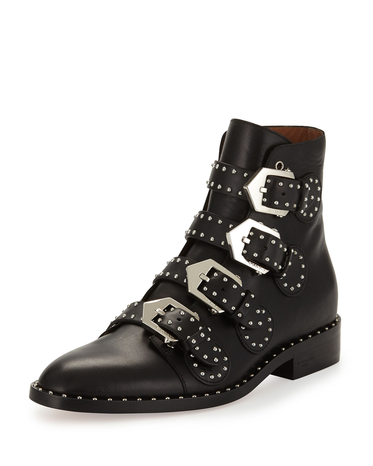 fa066b795a8 Studded Leather Ankle Boot, Black