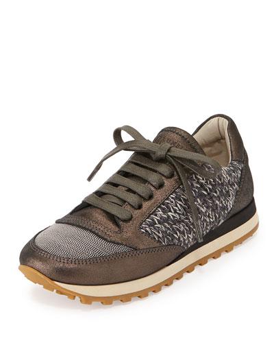 Monili Cap-Toe Cashmere Sneaker, Black