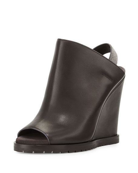 Brunello CucinelliLeather Monili-Strap Wedge Bootie, Graphite