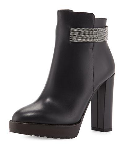Calfskin Monili-Strap Ankle Boot, Black