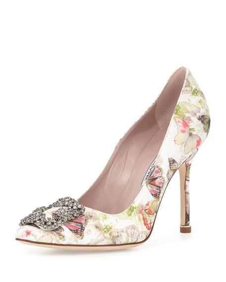 Manolo Blahnik Hangisi 105mm Butterfly-Print Satin Pump, Multi