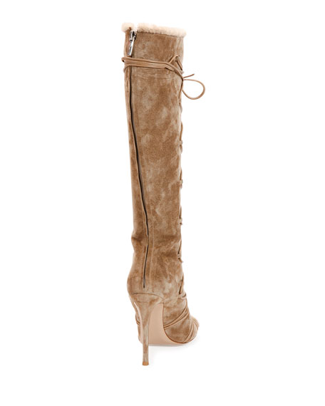 Open-Toe Shearling Fur Lace-Up Boot, Bisque