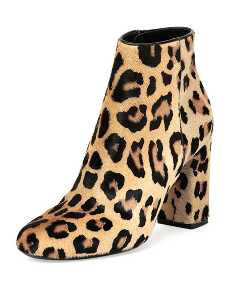 Leopard-Print Calf-Hair Ankle Boot, Natural
