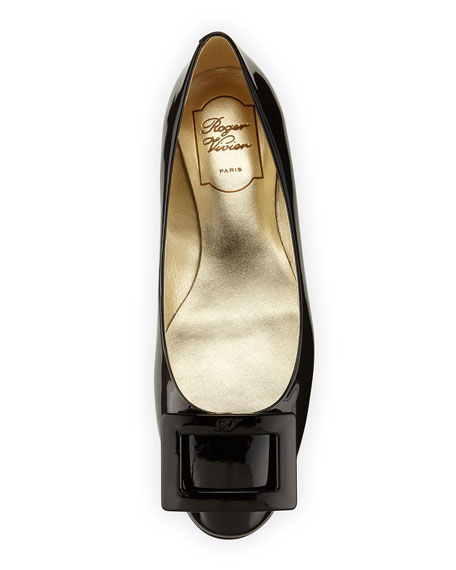 Roger Vivier Gomette Patent Leather Flat, Black
